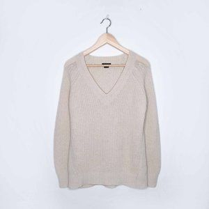 Theory 100% cashmere v-neck ribbed chunky sweater